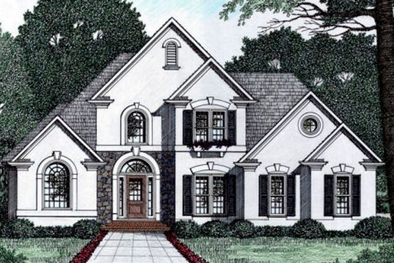 Traditional Style House Plan - 3 Beds 2.5 Baths 1776 Sq/Ft Plan #129-108 Exterior - Front Elevation