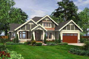 Architectural House Design - Craftsman Exterior - Front Elevation Plan #132-202