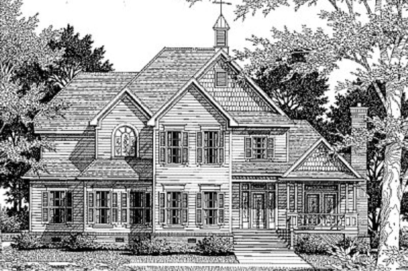 Traditional Style House Plan - 4 Beds 3.5 Baths 3013 Sq/Ft Plan #41-172 Exterior - Front Elevation