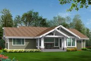Craftsman Style House Plan - 2 Beds 2 Baths 1725 Sq/Ft Plan #132-101 Exterior - Rear Elevation