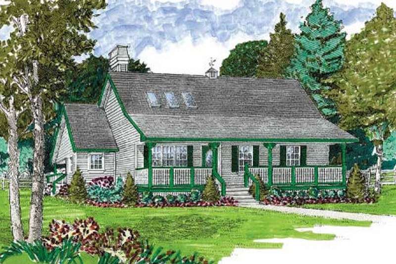 Country Exterior - Front Elevation Plan #47-645 - Houseplans.com