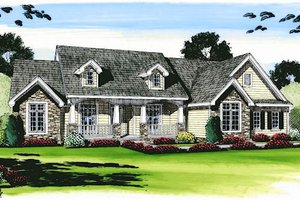 Cottage Exterior - Front Elevation Plan #455-110