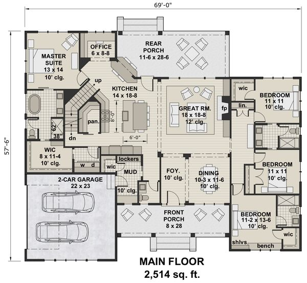 Architectural House Design - Farmhouse Floor Plan - Main Floor Plan #51-1143