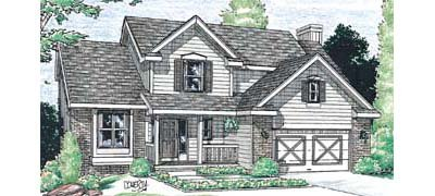 Traditional Style House Plan - 4 Beds 2.5 Baths 2029 Sq/Ft Plan #20-266 Exterior - Front Elevation