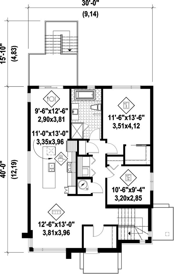 Contemporary Floor Plan - Upper Floor Plan #25-4555