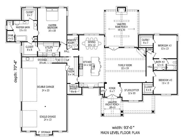 European Floor Plan - Main Floor Plan Plan #932-11