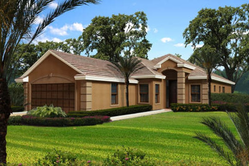 Mediterranean Style House Plan - 3 Beds 2 Baths 2068 Sq/Ft Plan #420-261 Exterior - Front Elevation