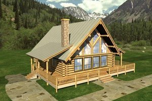 Log Exterior - Front Elevation Plan #117-110