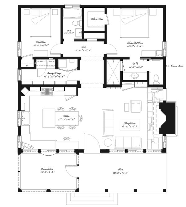 Main level floor plan - 1300 square foot Country home