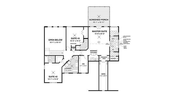 Craftsman Floor Plan - Upper Floor Plan Plan #56-642
