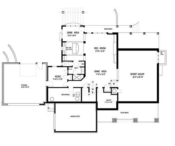 Traditional Style House Plan - 4 Beds 4 Baths 5342 Sq/Ft Plan #56-604 Floor Plan - Lower Floor Plan