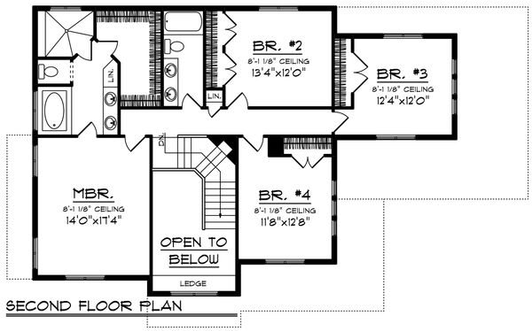 Craftsman Floor Plan - Upper Floor Plan Plan #70-1226
