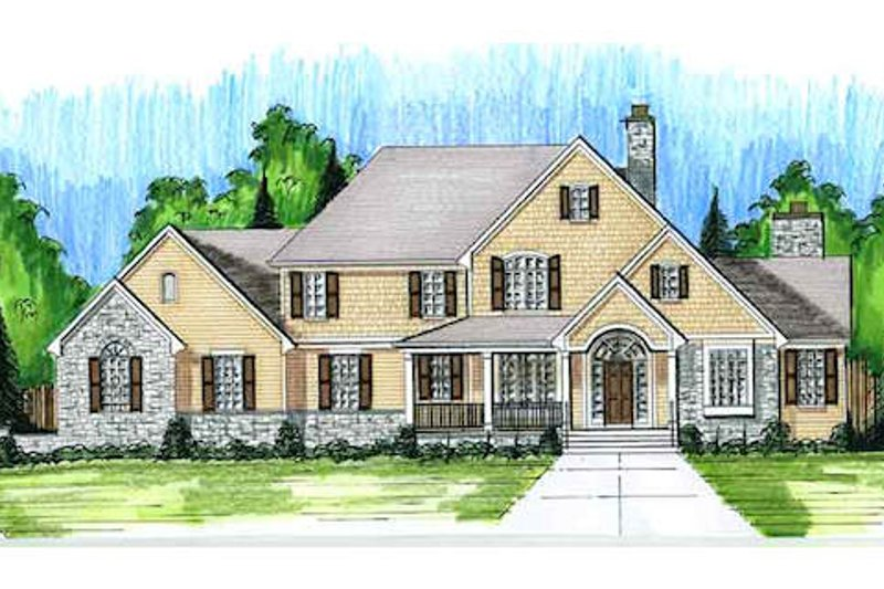 European Exterior - Front Elevation Plan #46-485