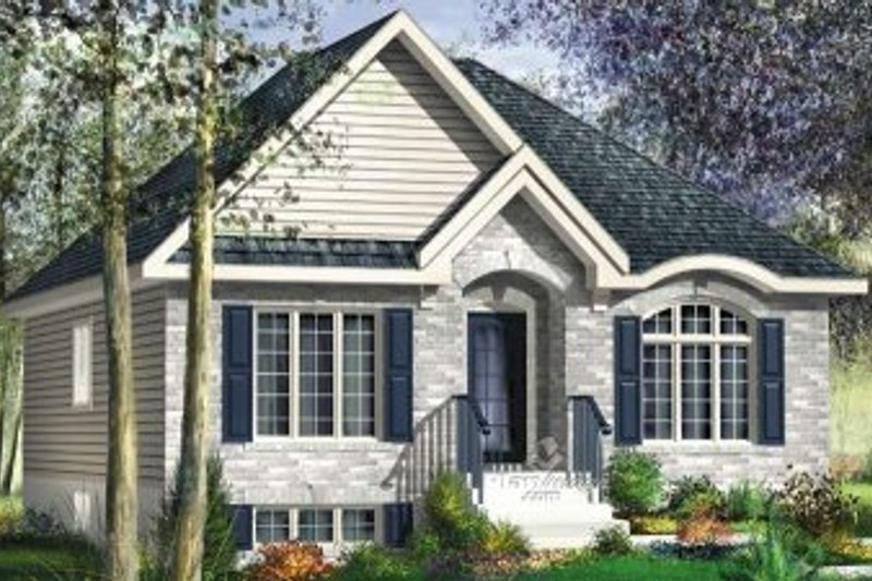 European Style House Plan - 3 Beds 1 Baths 1110 Sq/Ft Plan #25-4139 Exterior - Front Elevation