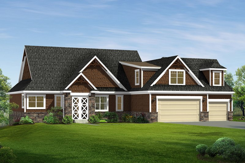 Craftsman Style House Plan - 2 Beds 2 Baths 2490 Sq/Ft Plan #1057-8 Exterior - Front Elevation