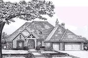 European Style House Plan - 4 Beds 3 Baths 2582 Sq/Ft Plan #310-849 Exterior - Front Elevation