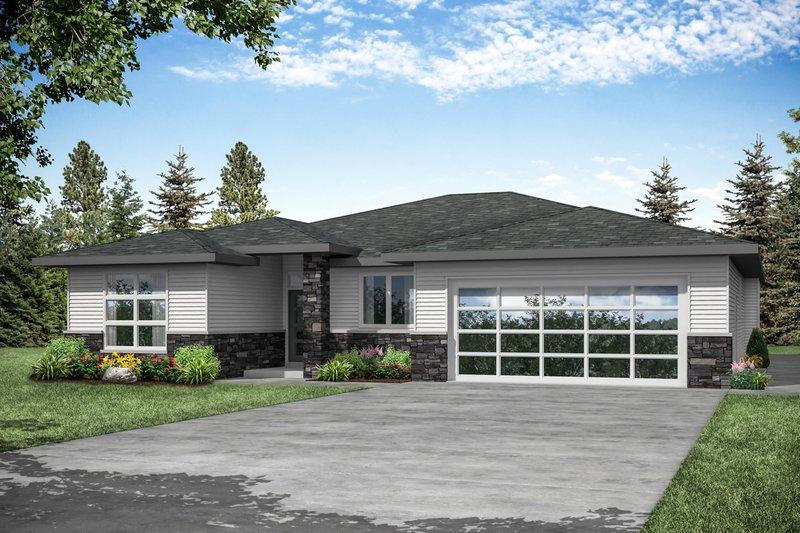 House Plan Design - Prairie Exterior - Front Elevation Plan #124-1195
