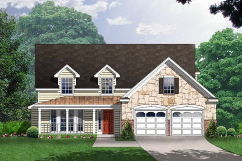 Country Exterior - Front Elevation Plan #40-329
