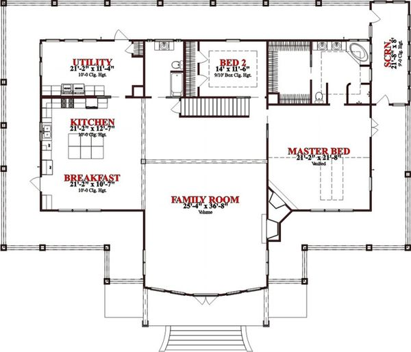 Craftsman Floor Plan - Main Floor Plan Plan #63-342