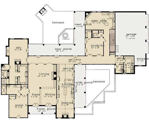 European Floor Plan - Main Floor Plan Plan #36-475