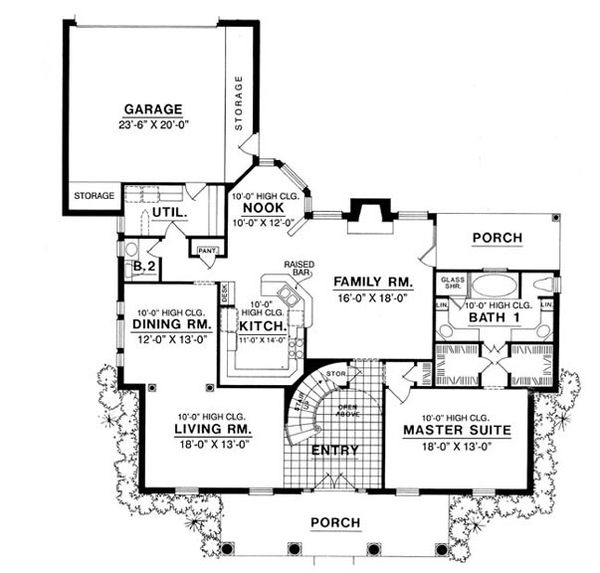 Colonial Floor Plan - Main Floor Plan Plan #40-190