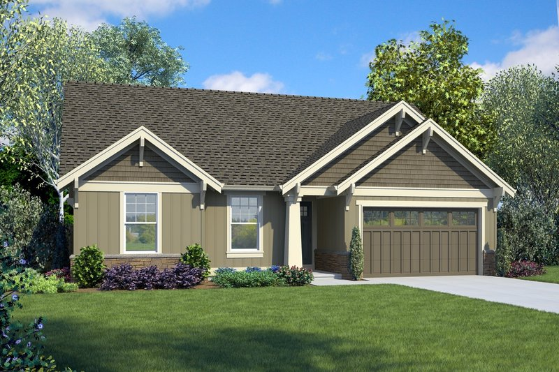 Craftsman Style House Plan - 3 Beds 2 Baths 1605 Sq/Ft Plan #48-998 Exterior - Front Elevation