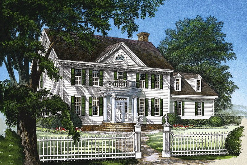 Southern Exterior - Front Elevation Plan #137-129