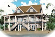 Beach Style House Plan - 3 Beds 2.5 Baths 4658 Sq/Ft Plan #81-13792 Exterior - Front Elevation
