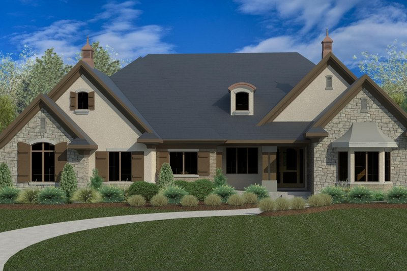 European Style House Plan - 4 Beds 3.5 Baths 4861 Sq/Ft Plan #920-17 Exterior - Front Elevation