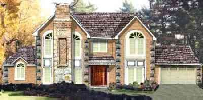 Colonial Exterior - Front Elevation Plan #3-201