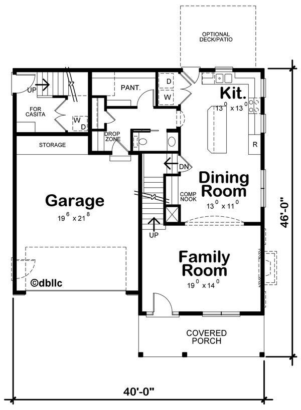 Architectural House Design - Traditional Floor Plan - Main Floor Plan #20-2327