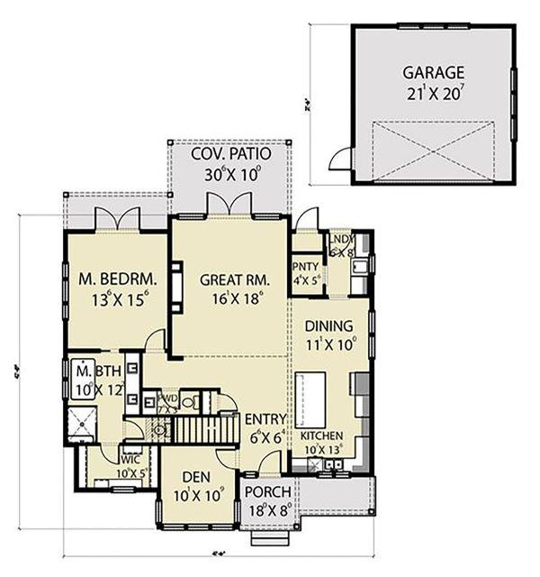 Farmhouse Floor Plan - Main Floor Plan Plan #1070-102