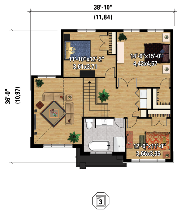 Contemporary Floor Plan - Upper Floor Plan Plan #25-4379