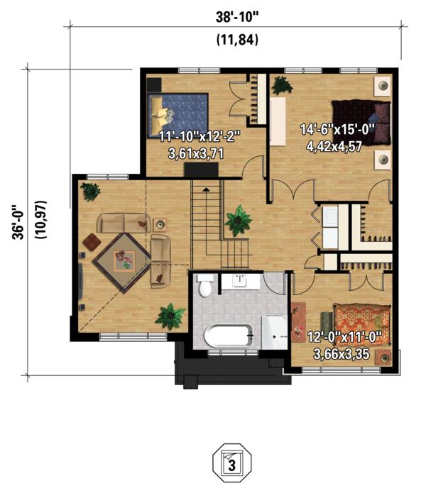 Contemporary Floor Plan - Upper Floor Plan #25-4379