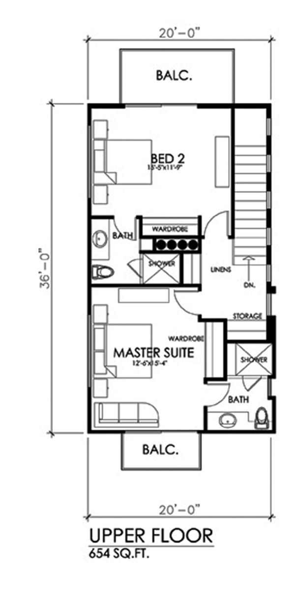 Contemporary Floor Plan - Upper Floor Plan Plan #484-14
