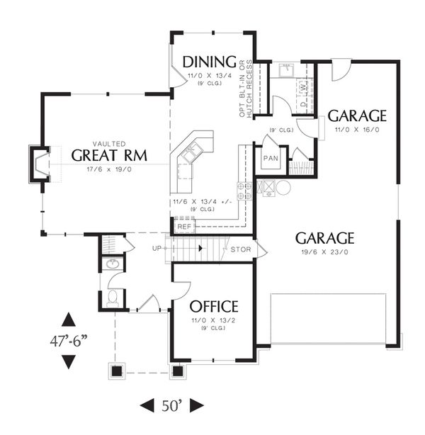 Craftsman Floor Plan - Main Floor Plan Plan #48-528