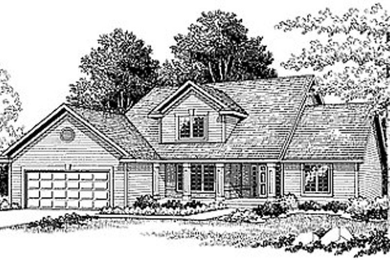 Traditional Style House Plan - 3 Beds 2.5 Baths 1864 Sq/Ft Plan #70-274 Exterior - Front Elevation