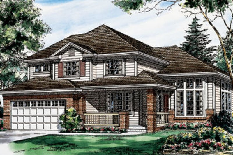 Traditional Style House Plan - 4 Beds 2.5 Baths 2411 Sq/Ft Plan #312-539 Exterior - Front Elevation
