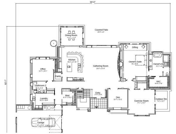 Adobe / Southwestern Floor Plan - Main Floor Plan Plan #451-25