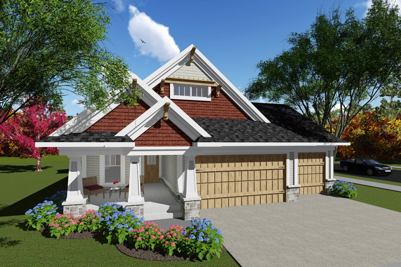 Craftsman Exterior - Front Elevation Plan #70-1260