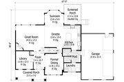 Craftsman Style House Plan - 4 Beds 3.5 Baths 3162 Sq/Ft Plan #51-449 Floor Plan - Main Floor Plan