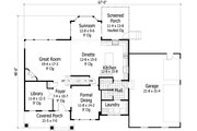 Craftsman Style House Plan - 4 Beds 3.5 Baths 3162 Sq/Ft Plan #51-449 Floor Plan - Main Floor