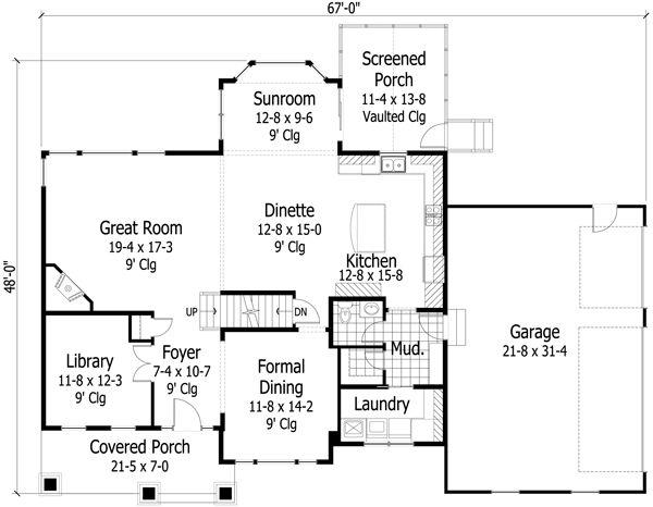 Craftsman Floor Plan - Main Floor Plan Plan #51-449