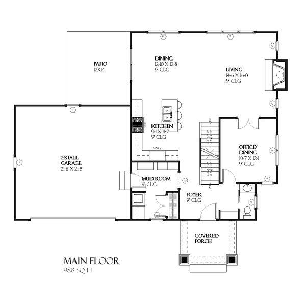 Craftsman Floor Plan - Main Floor Plan Plan #901-82