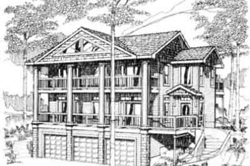 Southern Exterior - Front Elevation Plan #117-215