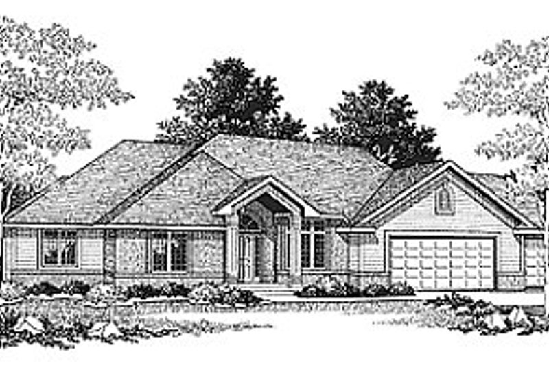 Traditional Style House Plan - 2 Beds 2.5 Baths 1988 Sq/Ft Plan #70-264 Exterior - Front Elevation