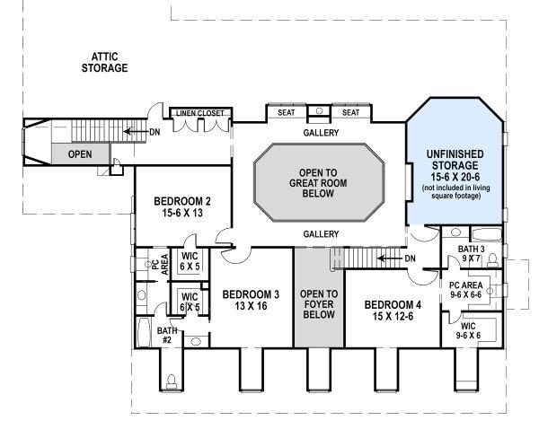 Country Floor Plan - Upper Floor Plan Plan #119-216