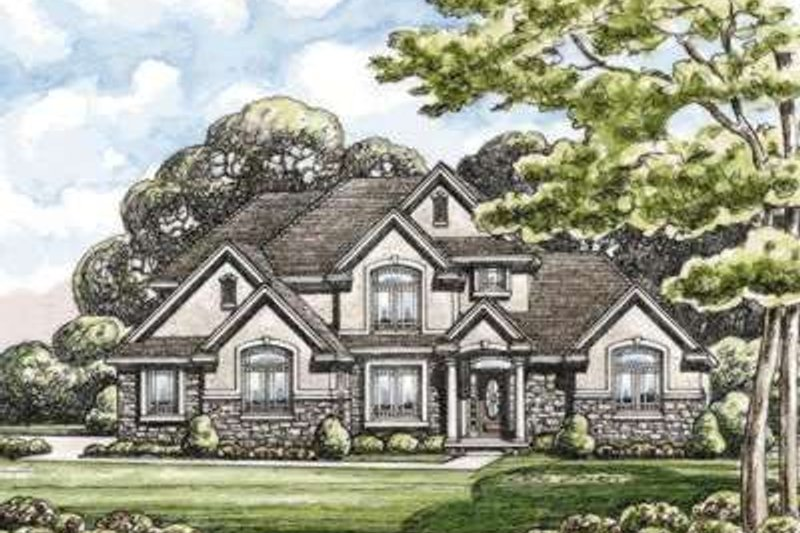 Traditional Style House Plan - 4 Beds 4 Baths 2999 Sq/Ft Plan #20-1824 Exterior - Front Elevation