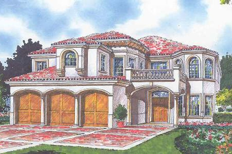 Mediterranean Style House Plan - 6 Beds 5.5 Baths 4713 Sq/Ft Plan #420-157 Exterior - Front Elevation