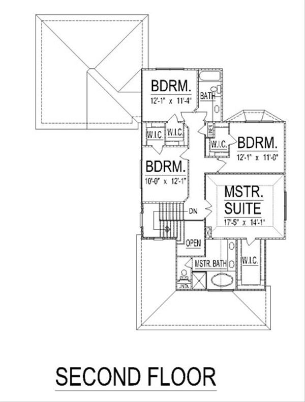Craftsman Floor Plan - Upper Floor Plan Plan #458-11